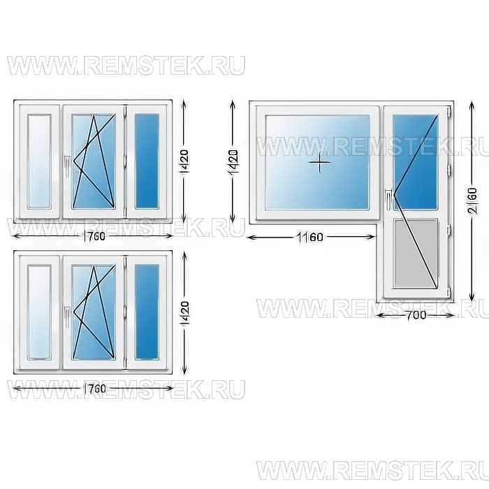 окна в двухкомнатной квартире типа 2 дома п-44